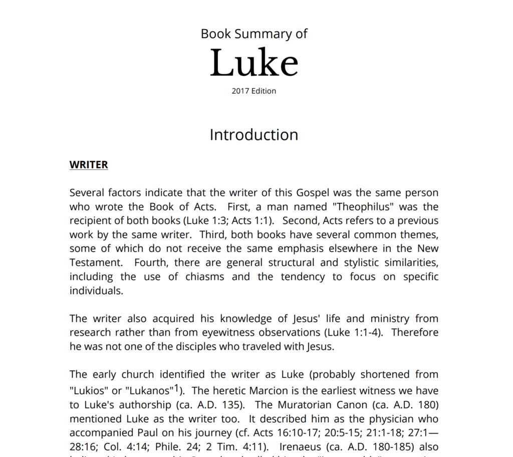 sermonary bible book summary luke