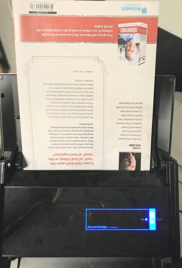 scanning book in scanner
