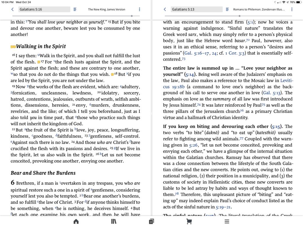 logos iPad bible split screen
