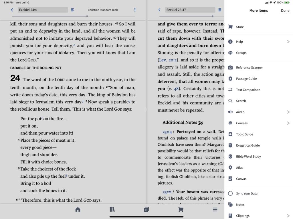 logos bible audio menu