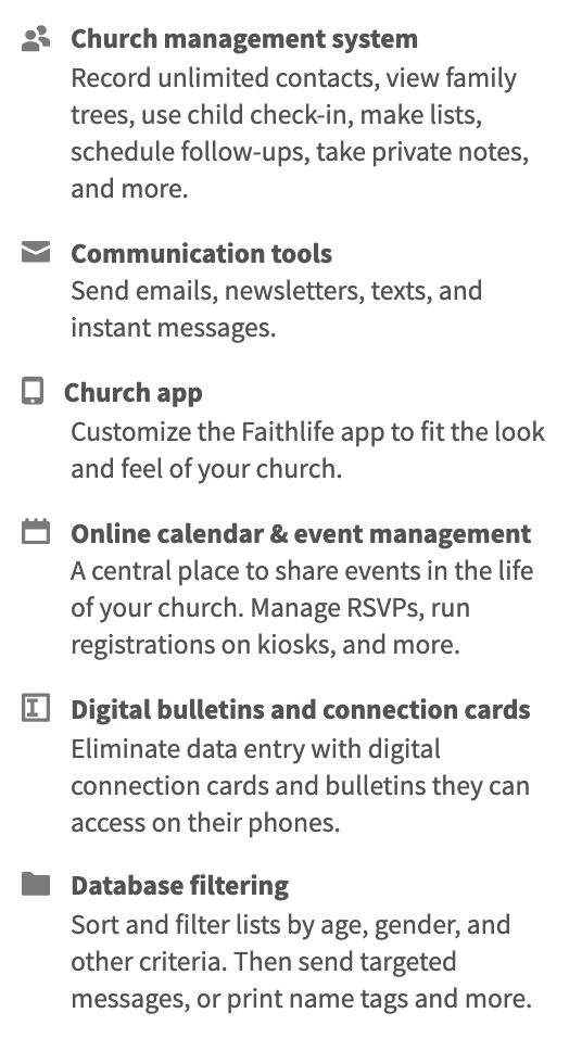 faithlife church management system function list